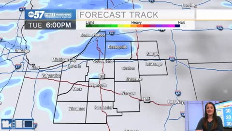 Snow this evening, clouds break Wednesday